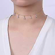 14k Yellow/White Gold Pear Shaped Diamond Choker Necklace