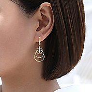 14k Yellow/White Gold Triple Loop Diamond Drop Earrings
