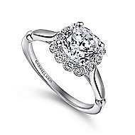 18K White Gold Cushion Halo Round Diamond Engagement Ring