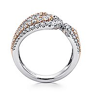 18k White And Rose Gold Contemporary Wide Band Ladies Ring