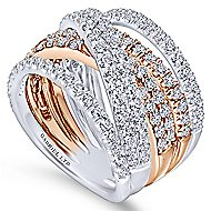 18k White And Rose Gold Contemporary Wide Band Ladies' Ring
