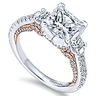 18k White And Rose Gold Princess Cut 3 Stones Engagement Ring