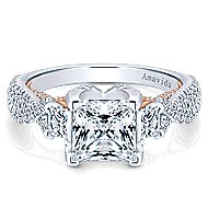 18k White And Rose Gold Princess Cut 3 Stones Engagement Ring angle 1