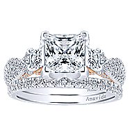 18k White And Rose Gold Princess Cut 3 Stones Engagement Ring angle 4
