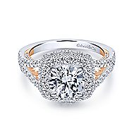 18k White And Rose Gold Round Double Halo Engagement Ring angle 1