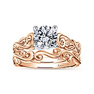 18k White And Rose Gold Round Free Form Engagement Ring angle 4