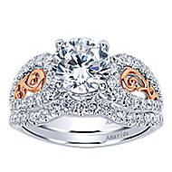 18k White And Rose Gold Round Split Shank Engagement Ring angle 4