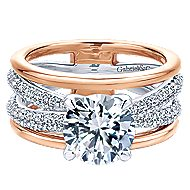 18k White And Rose Gold Round Split Shank Engagement Ring angle 1