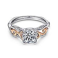 18k White And Rose Gold Round Twisted Engagement Ring angle 1