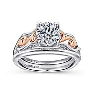 18k White And Rose Gold Round Twisted Engagement Ring angle 4