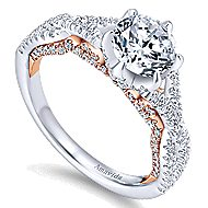 18k White And Rose Gold Round Twisted Engagement Ring