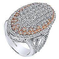 18k White And Rose Gold Silk Fashion Ladies' Ring angle 3