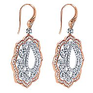 18k White And Rose Gold Victorian Drop Earrings angle 2