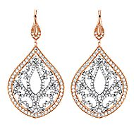 18k White And Rose Gold Victorian Drop Earrings angle 1