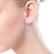 18k White Gold Art Moderne Drop Earrings angle 3