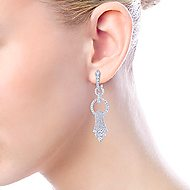 18k White Gold Art Moderne Drop Earrings angle 2
