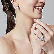 18k White Gold Art Moderne Peek A Boo Earrings