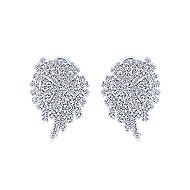 18k White Gold Art Moderne Stud Earrings angle 1