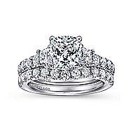 18k White Gold Cushion Cut 3 Stones Engagement Ring angle 4