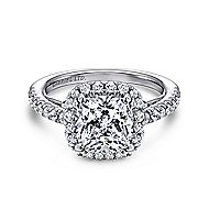 18k White Gold Cushion Cut Halo Engagement Ring angle 1