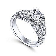 18k White Gold Cushion Cut Halo Engagement Ring angle 3