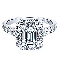 18k White Gold Emerald Cut Double Halo Engagement Ring angle 1