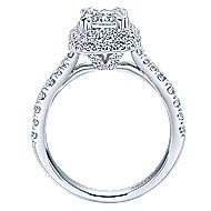 18k White Gold Emerald Cut Double Halo Engagement Ring angle 2