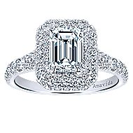 18k White Gold Emerald Cut Double Halo Engagement Ring angle 5