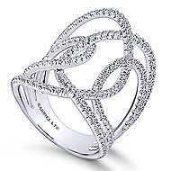 18k White Gold Lusso Wide Band Ladies' Ring angle 3