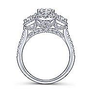 18k White Gold Pear Shape 3 Stone Halo Engagement Ring
