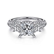 18k White Gold Princess Cut 3 Stones Engagement Ring angle 1