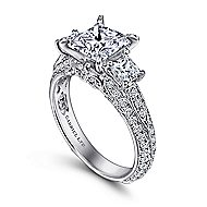 18k White Gold Princess Cut 3 Stones Engagement Ring angle 3