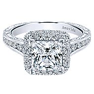 18k White Gold Princess Cut Double Halo Engagement Ring angle 1