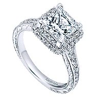 18k White Gold Princess Cut Double Halo Engagement Ring angle 3