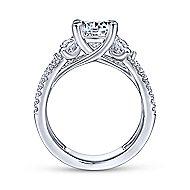 18k White Gold Round 3 Stones Engagement Ring angle 2