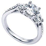 18k White Gold Round 3 Stones Engagement Ring angle 3