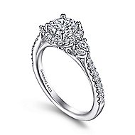 18k White Gold Round 3 Stones Halo Engagement Ring angle 3