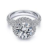18k White Gold Round Halo Engagement Ring angle 1