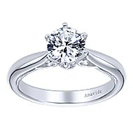 18k White Gold Round Solitaire Engagement Ring angle 5