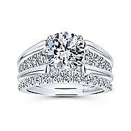 18k White Gold Round Straight Engagement Ring angle 4