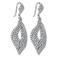 18k White Gold Silk Drop Earrings angle 2