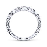 18k White Gold Victorian Curved Wedding Band angle 2