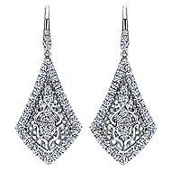 18k White Gold Victorian Drop Earrings angle 1
