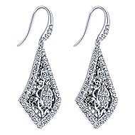 18k White Gold Victorian Drop Earrings angle 2
