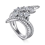 18k White Gold Waterfall Fashion Ladies' Ring angle 3