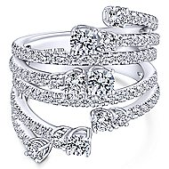18k White Gold Waterfall Wide Band Ladies' Ring angle 1