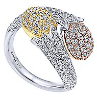 18k Yellow And White And Rose Gold Silk Fashion Ladies' Ring angle 3