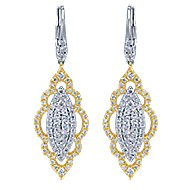 18k Yellow And White Gold Mediterranean Drop Earrings angle 1