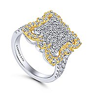18k Yellow And White Gold Mediterranean Fashion Ladies' Ring angle 3