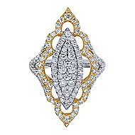 18k Yellow And White Gold Mediterranean Statement Ladies' Ring angle 4